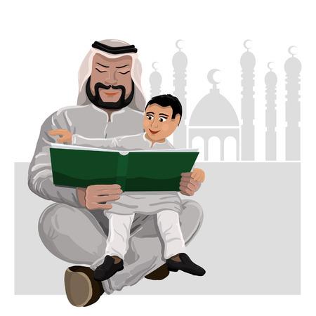 child sitting: Dad reads the Koran child sitting on hands