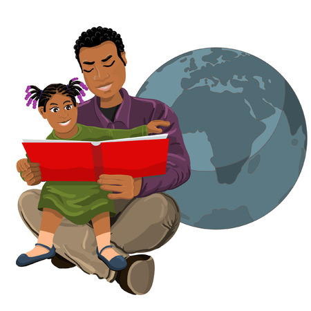 Dad black African African daughter reading a book Illustration