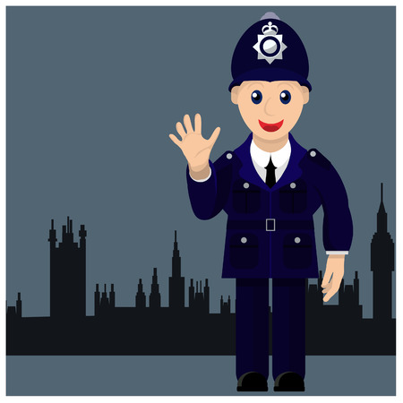 bobby: Standing in the background London policeman smiles at us Illustration