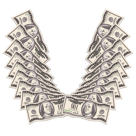 Wings made of banknotes are to success