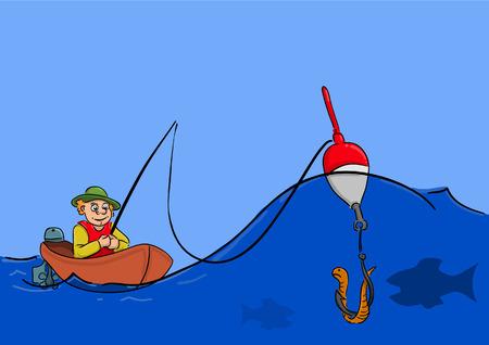 ボートで海のサイレント魚座っている漁師