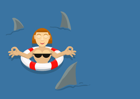 transferred: girl on the buoy floats surrounded by sharks and meditation transferred Illustration
