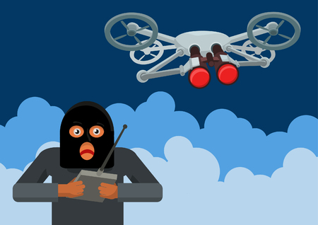 illegally: illegal surveillance quadrocopters criminal elements should be using modern technology for people Illustration