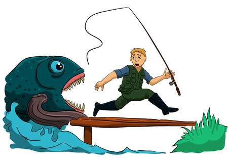 fish attacked a fisherman and he runs away.
