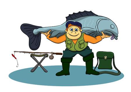 漁師つかまえられた魚の肩の上を保持します。  イラスト・ベクター素材
