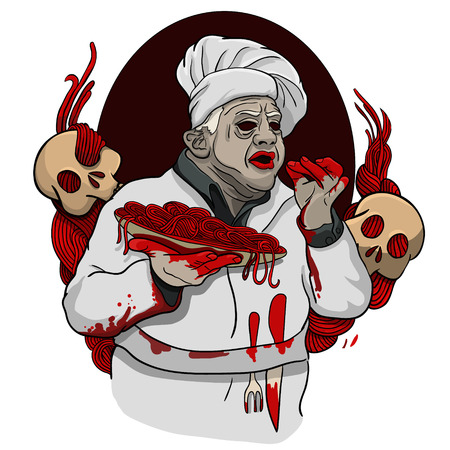 Italian zombie bloody chef delivers the food