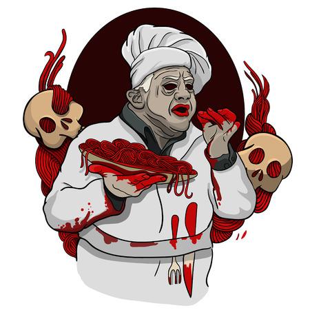 Italiaanse zombie bloedige chef levert het voedsel
