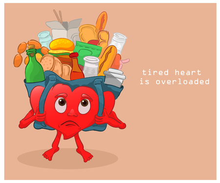 excess: burdened with a load of excess food is the heart and can not move Illustration