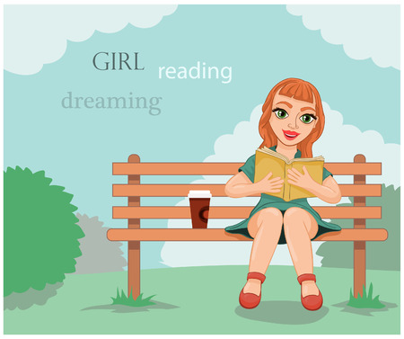 young beautiful girl sitting on a bench and reading a book 일러스트