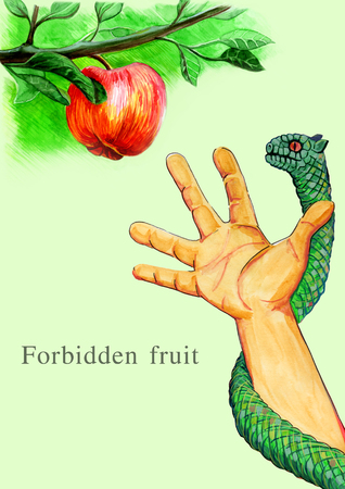 genesis: hand reaches for fruit snake entwine Stock Photo