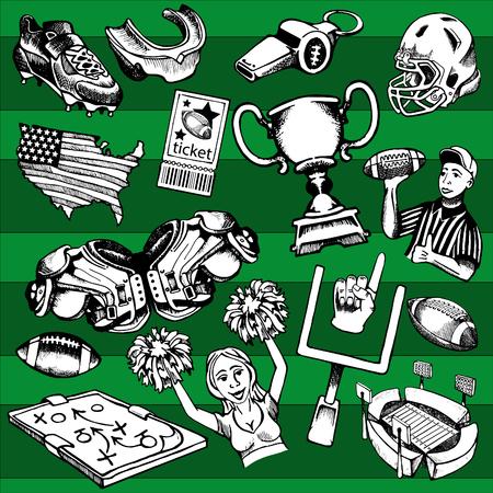 미식 축구의 인물 그림에서 수집 한 스톡 콘텐츠 - 69777527