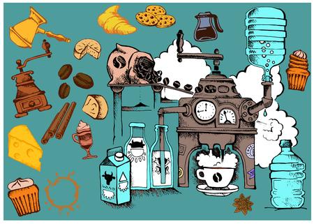molinillo: vector de fondo brillante alegre sobre el consumo de café Vectores