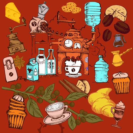 vector cheerful bright background about coffee drinking