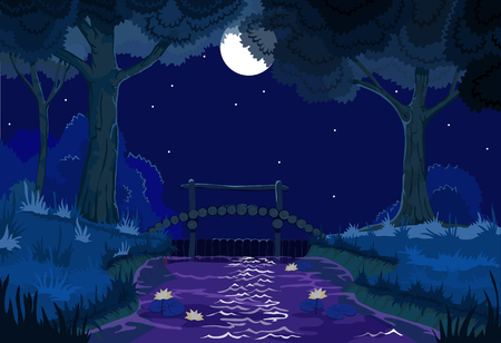 vector beautiful forest landscape with a river and a bridge