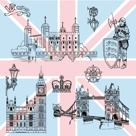 London sights and details characterizing England 일러스트
