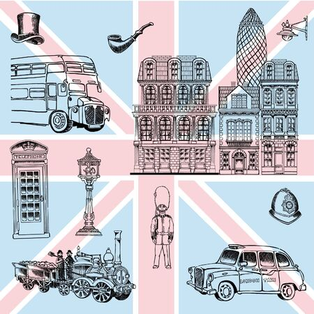 London sights and details characterizing England Ilustrace