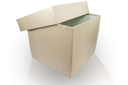 half open: Plain cardboard box half open Stock Photo