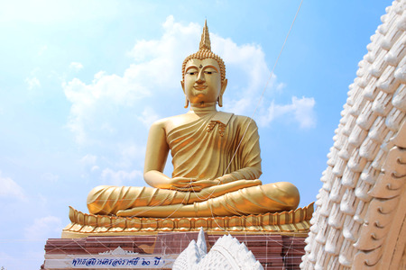 imagery: Great golden buddha imagery in Buddhist temple Stock Photo