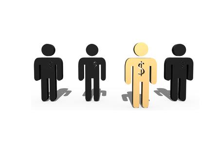 represent: 3D golden man model with dollar sign represent successful leader