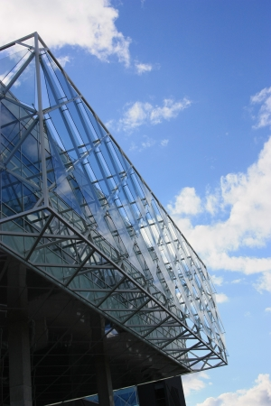 urbanistic:  Modern building with blue sky in the background
