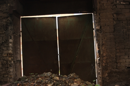 locked in: Heavy factory doors Stock Photo