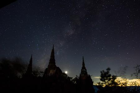 temple thailand: milky way at chaluamprakiet temple lampang on november early night Stock Photo