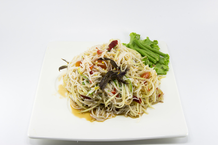 rice noodles spicy salad with salted crab Stock Photo
