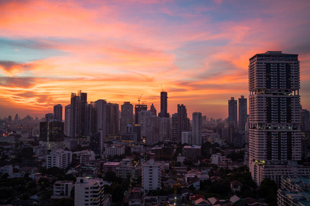 Majestic sunset overlooking Bangkok metropolitan city