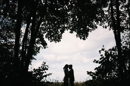 silhouette of a loving couple on a background of clouds