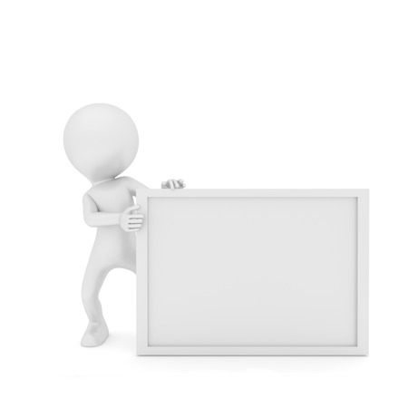 Prople and White Board. 3D rendering