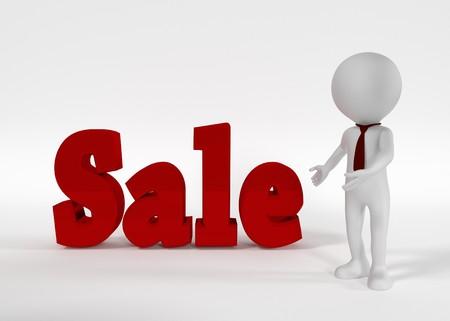 Sale text and businessman. 3D rendering Banco de Imagens