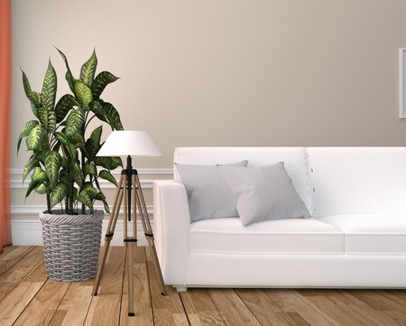 White Living Room Interior - White sofa and lamp - Empty white wall on Wooden floor. 3D rendering Stock Photo