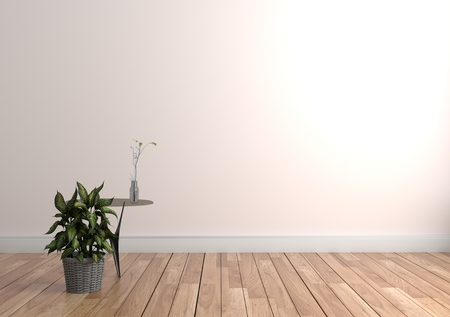 Plant and vase on table in wood floor on empty white wall background. 3D rendering Stock Photo