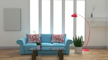 Modern room interior with blue sofa and table and lamp on white room .3D rendering Reklamní fotografie