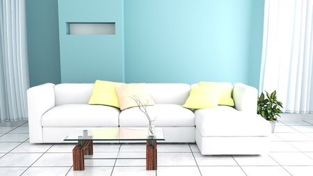 Sofa have pillows, lamp, books and vase with flowers on white wall background, 3D rendering