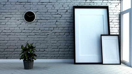 Loft room interior, brick wall and white wooden floor background. 3D rendering