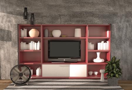 Living room - Modern loft style ,3d rendering