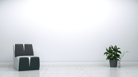Grey armchair and plant on white wall empty background. 3D rendering.