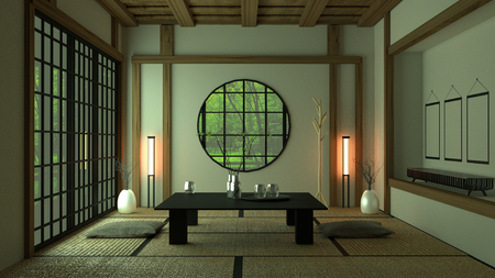 Room Design Japanese-style. 3D rendering Stock Photo