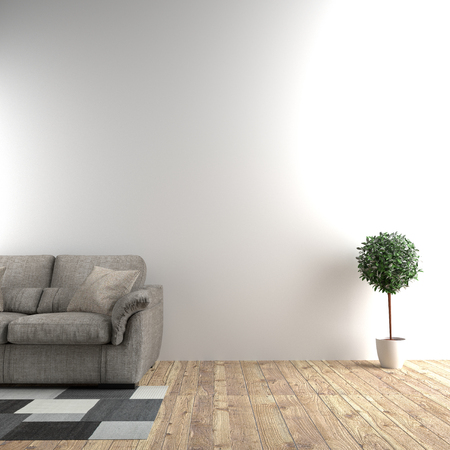 White room next to sofa and plants in empty wall background. 3D rendering