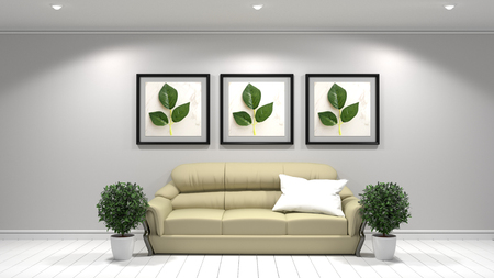 Room interior wall mock up with modern sofa and green plant and frames on white wall background