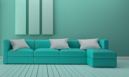 Green mint room interior design. 3D rendering