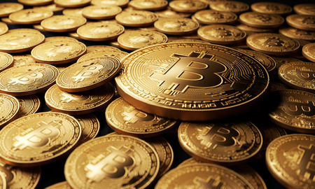 Big coin bitcoin on bitcoin background - blurred. 3D rendering