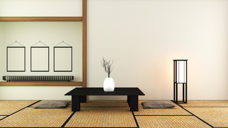 Japanese style - Room interior design. 3D rendering Stock Photo
