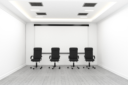 Board room - empty office concept , business interior with chairs and plants and wooden floor on white wall empty. 3D rendering Standard-Bild - 110027255