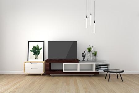 Maqueta de Smart TV en una habitación vacía, sala de estar de estilo tropical. Representación 3D Foto de archivo