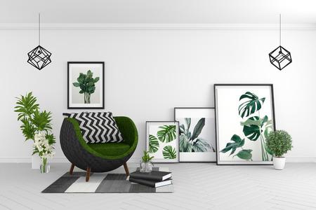 Wnętrze salonu - pokój w nowoczesnym stylu tropikalnym z kompozycją - minimalistyczny design. renderowanie 3D