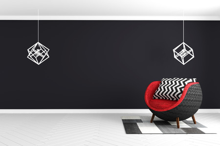 Black wall background in white glossy floor with red armchair and lamp and carpet modern style . 3D rendering Stok Fotoğraf - 110028543