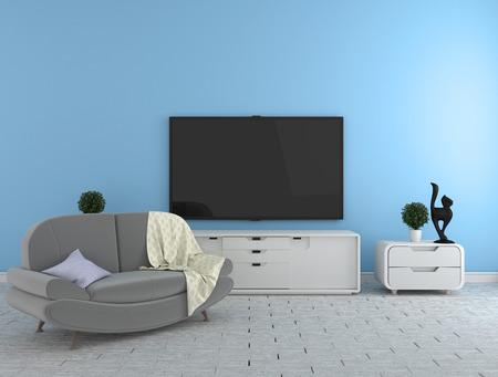 TV en el gabinete - sala de estar moderna sobre fondo de pared azul - estilo colorido, renderizado 3d Foto de archivo
