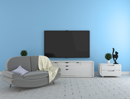 TV on the cabinet - modern living room on blue wall background - colorful style, 3d rendering